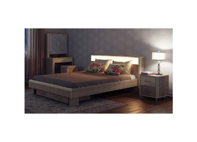 Кровать МСТ Оливия с подсветкой, мод. 3.2 (160) дезира темный/мокко