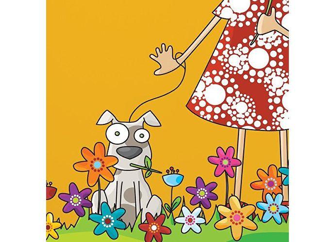 Настенный стикер Урбаника Люси и щенок