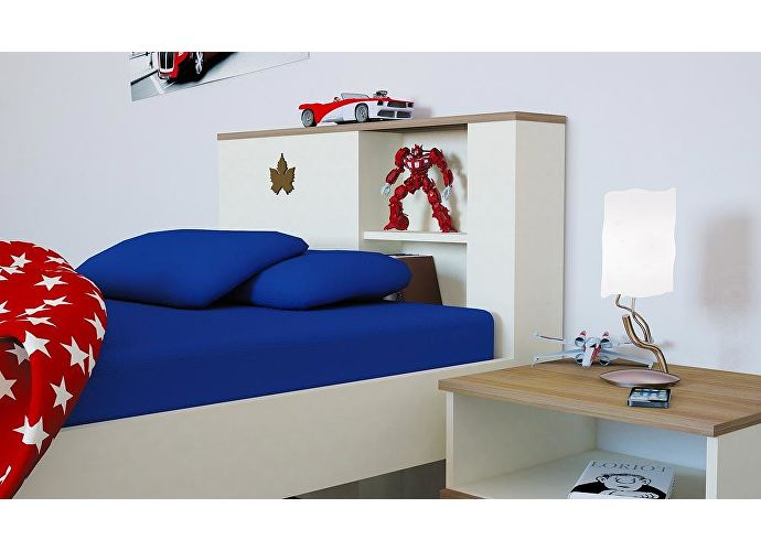 Кровать Заречье Юниор, мод Ю12 (90) weave светлый/ясень шимо, декор клен