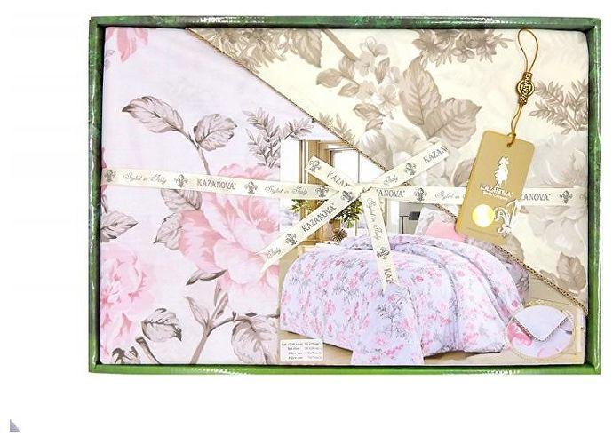 Постельное белье KAZANOV.A. Роза Лилиан, белый/розовый