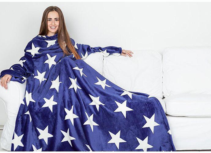 Плед Sleepy Luxury с рукавами и поясом, синий со звездами