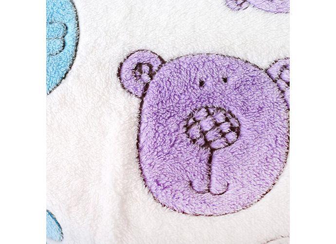 Плед ОТК Разноцветные мишки на белом