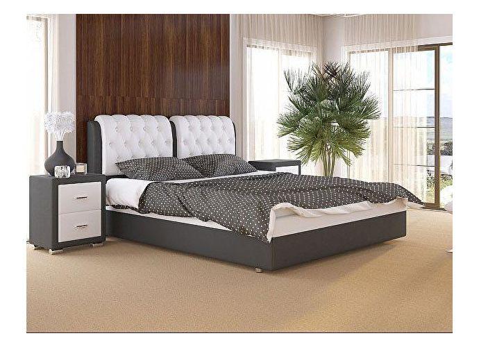 Кровать Como 5 Орматек (ткань и экокожа) Серый/белый
