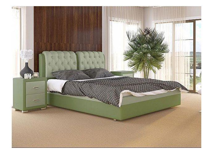 Кровать Como 5 Орматек (ткань и экокожа) Олива/зеленое яблоко