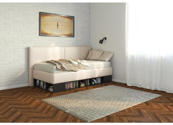 Кровать-тахта Орматек Lancaster (цвета люкс) черный/caiman croco,экокожа