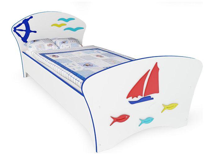 Кровать Соната Kids Орматек для мальчиков парусник (синяя кромка)