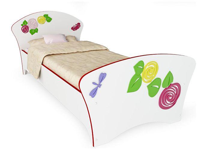 Кровать Соната Kids Орматек для девочек розы (красная кромка)