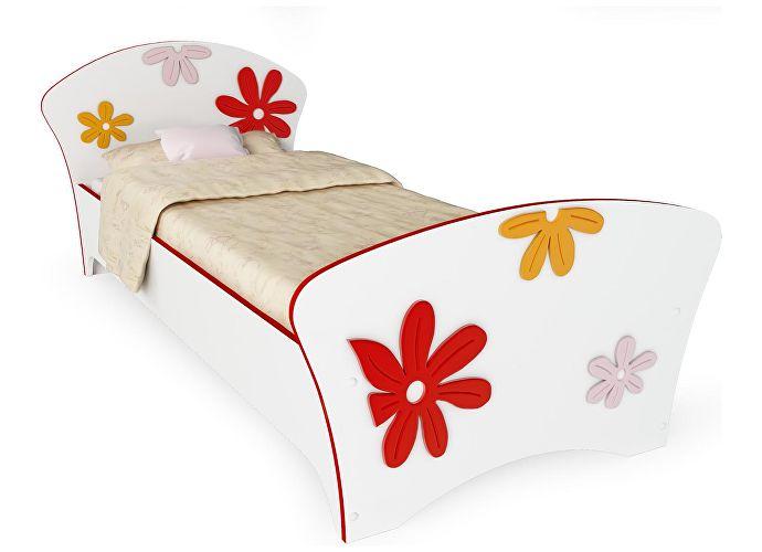 Кровать Соната Kids Орматек для девочек ромашки (красная кромка)