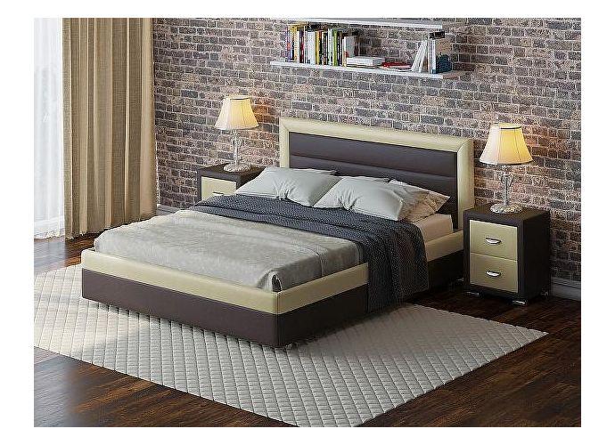 Кровать Life 2 Box коричневый/кремовый
