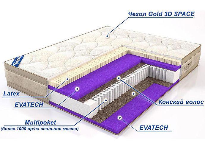 Матрас Lineaflex Qween Latex чехол Gold-3D Space