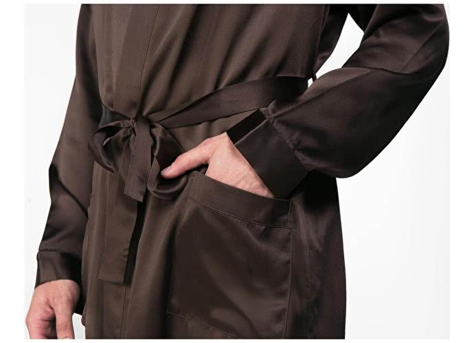 Шелковый халат Luxe Dream Шоколадный