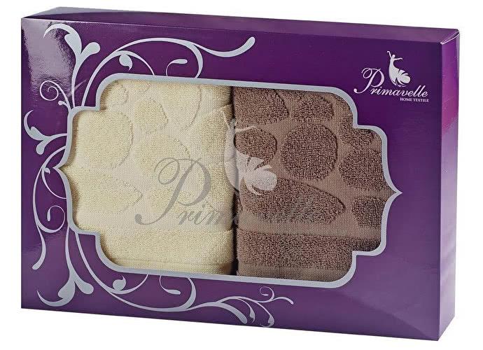 Набор полотенец Primavelle Piera, 50x90 (2 шт.) коричневый/ваниль