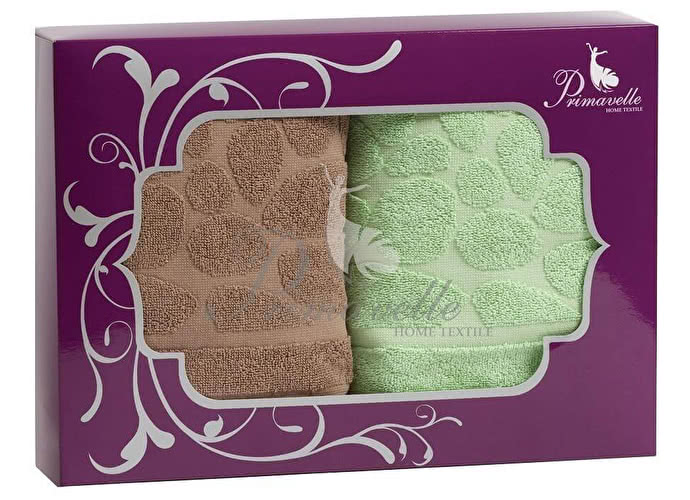 Набор полотенец Primavelle Piera, 50x90 (2 шт.) коричневый/зеленый
