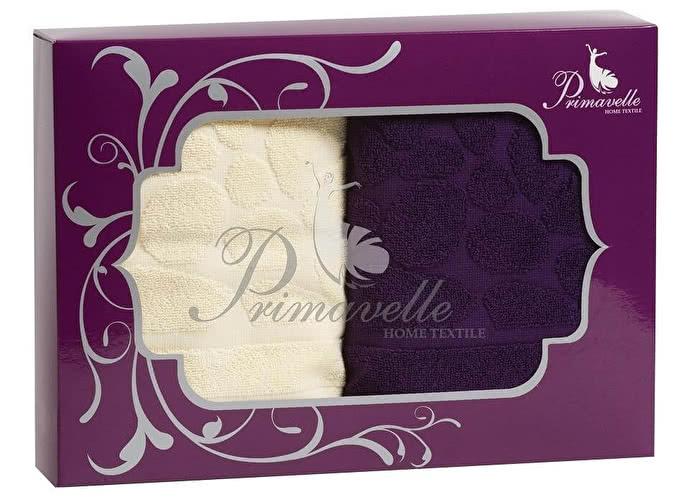 Набор полотенец Primavelle Piera, 50x90 (2 шт.) фиолетовый/бежевый