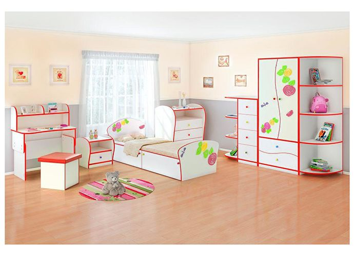 Кровать Соната Kids Плюс для девочек Орматек розы (красная кромка)
