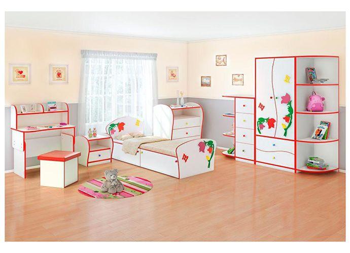 Кровать Соната Kids Плюс для девочек Орматек колокольчики (красная кромка)