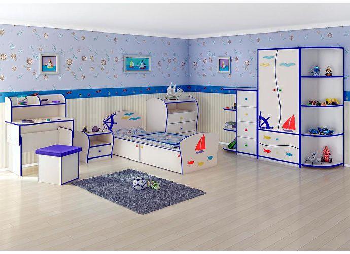 Кровать Соната Kids Плюс для мальчиков Орматек парусник (синяя кромка)