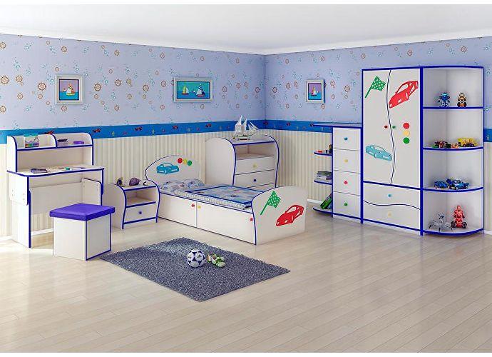 Кровать Соната Kids Плюс для мальчиков Орматек авто (голубая кромка)
