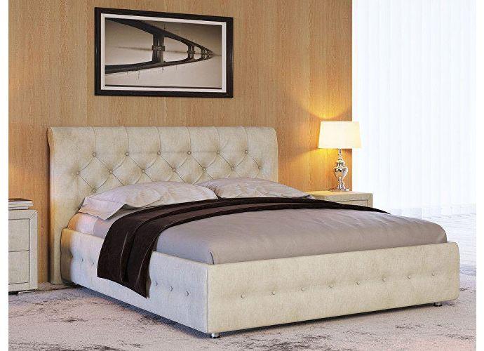 Кровать Life 4 (ткань и экокожа люкс) Лофти лен