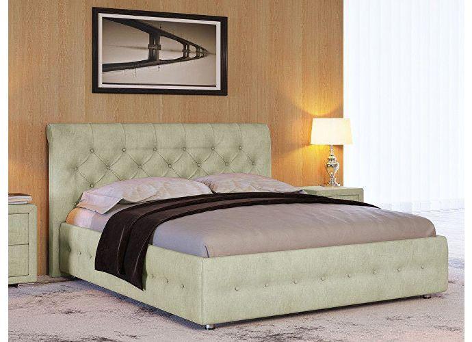 Кровать Life 4 (ткань и экокожа люкс) Лофти олива