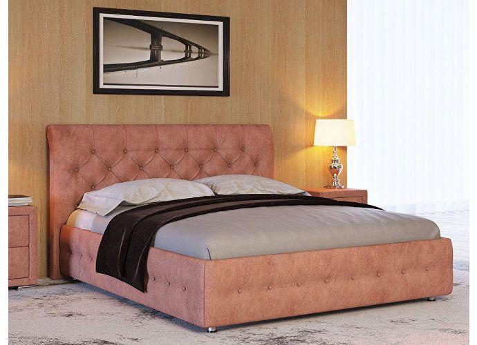 Кровать Life 4 (ткань и экокожа люкс) Лофти рыжий