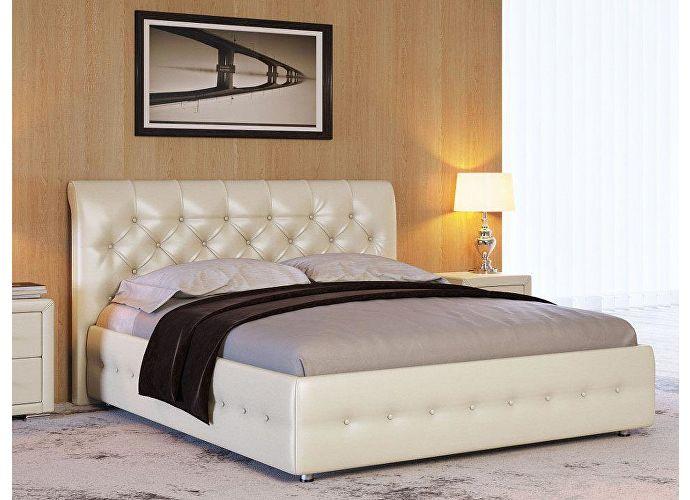 Кровать Life 4 (ткань и экокожа люкс) Молочный перламутр 5061 (экокожа)