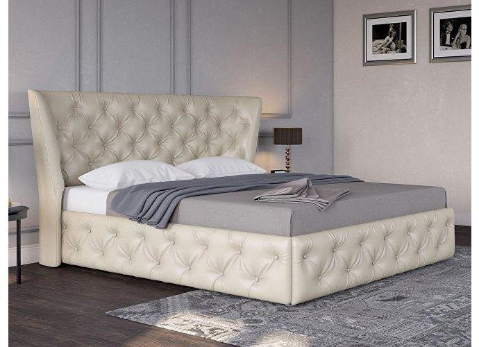 Кровать Life 5 (ткань и цвета люкс) Молочный перламутр 5061 (экокожа)