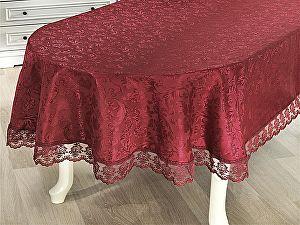 Купить скатерть Karna Leda 160х220 см овальная с гипюром, бордовая