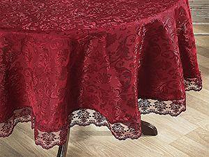 Купить скатерть Karna Leda круглая 160 см с гипюром, бордовая