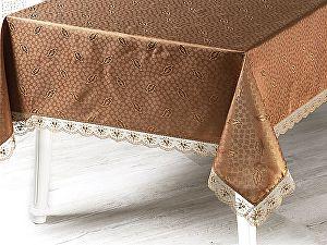 Купить скатерть Karna Nihan с гипюром 160х160 см, коричневая
