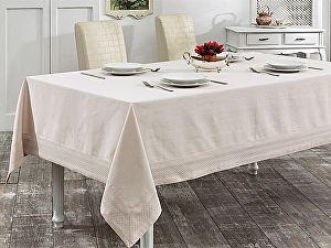 Купить скатерть Karna Honey 160х300 см с вышивкой, бежевая