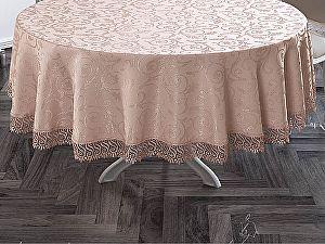 Купить скатерть Karna KDK круглая с гипюром 160 см, пудра