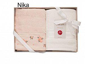 Набор из 2-х полотенец Arya Nika, светло-персиковый и экрю