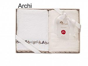 Набор из 2-х полотенец Arya Archi, белый-экрю
