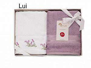 Набор из 2-х полотенец Arya Lui белый-лиловый