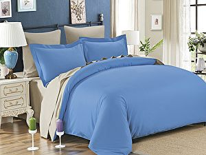 Постельное белье Karna Sanford, голубой-бежевый