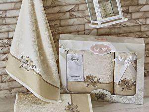 Комплект полотенец Karna Spray, кремовый