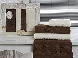 Комплект полотенец Karna Dora, коричневый и кремовый арт. 2153/char004