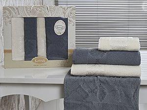 Комплект полотенец Karna Dora, кремовый и голубой арт. 2153/char001