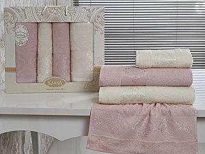 Комплект полотенец Karna Dora, светло-розовый и кремовый арт. 2153/char006
