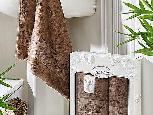 Комплект полотенец Karna Pandora, коричневый