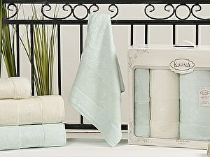 Комплект полотенец Karna Pandora, кремовый и светло-зеленый