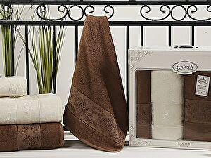 Комплект полотенец Karna Pandora, кремовый и коричневый
