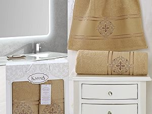 Комплект полотенец Karna Seher, горчичный арт. 2350/char001