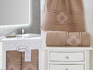 Комплект полотенец Karna Seher, грязно-розовый арт. 2350/char002