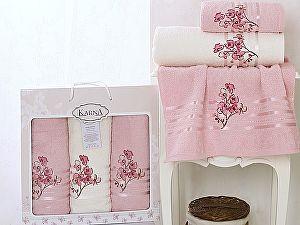 Комплект полотенец Karna Papilon, светло-розовый арт. 2354/char005