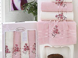 Комплект полотенец Karna Papilon, светло-розовый арт. 2355/char005