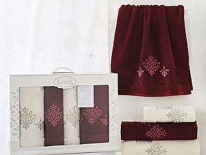 Комплект полотенец Karna Victory, бордовый арт. 2386/char002