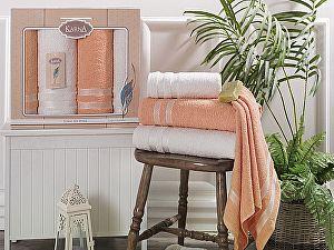 Комплект полотенец Karna Petek, кремовый и абрикосовый