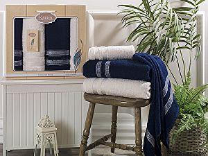 Комплект полотенец Karna Petek, кремовый и синий